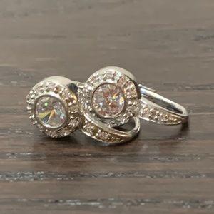 Anne Klein Silver CZ Earrings